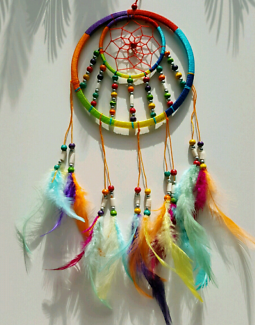SPIRITUAL RAINBOW COLOURED DREAM CATCHER-DISPELS NEGATIVITY-B/NEW