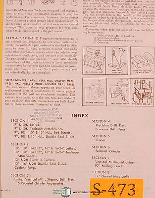South Bend 9 10 13 14 12 16 25 Lathe 124 Pg Maintenance Parts Manual 1965