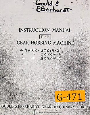 Gould Eberhardt 48 Hwd 3000 Series Gear Hobbing Instructions Manual 1960 Up