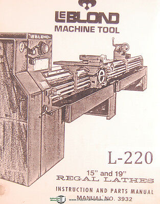 Leblond 15 And 19 Regal Lathes Book 3932 Instructions And Parts Manual 1975