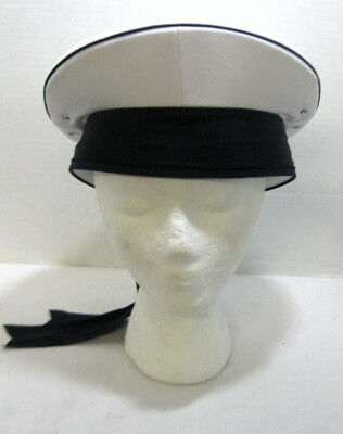 Unisex Sailor Hat With Blue Ribbons Adult Costume Captain Fancy Dress Accessory - Costume With Blue Dress