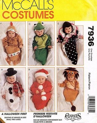McCall's Infants' Bunting Halloween Costumes Pattern 7936 UNCUT