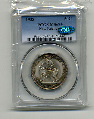 Click now to see the BUY IT NOW Price! 1938 NEW ROCHELLE OBVERSE & REVERSE SET PCGS MS 67 & PCGS MS67 CAC  PAPERS