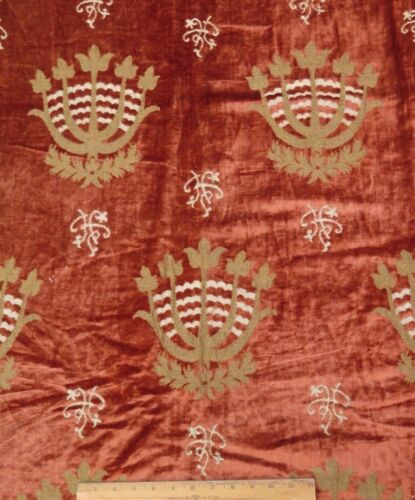 "French Antique 19thC Silk & Metallic Velvet Heraldic Fabric Panel~49""LX48""W"