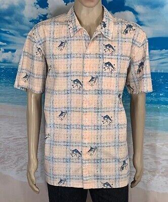 Columbia Hawaian Size L Mens Shirt Sho/Sleeve Button Front Regular 100% Cotton - Hawaian Shirt