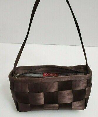 Harvey's Original Seatbelt Zip Top Chocolate Brown Baguette Purse Shoulder Bag