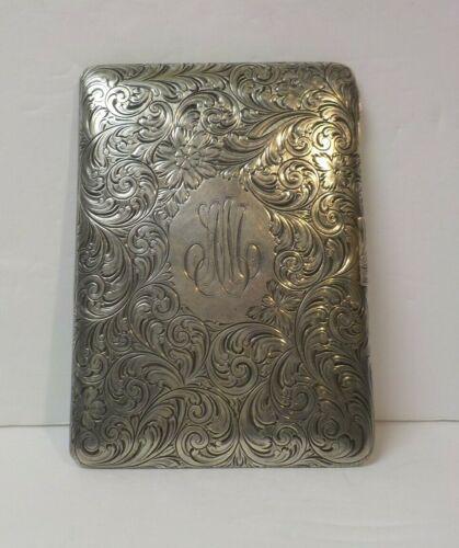 Art Nouveau Sterling Silver Embossed Cigarette Case, c. 1900, 145 grams