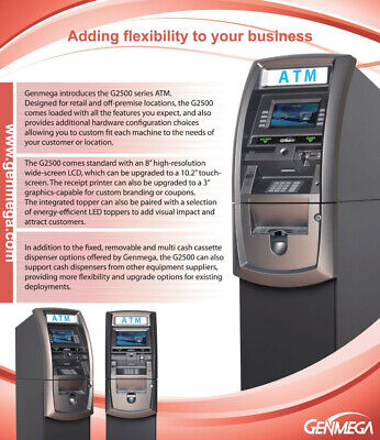 Genmega G2500 Atm Machine With Processing. Emvada Compliant 1k Note Cassette