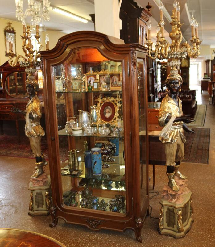 Fabulous Pair 7ft Blackamoor Nubian Gilded Statuary Floor Lamps Candelabra