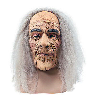 Creepy Old Man# Mask With Hair Adult Fancy Dress Halloween Accessory - Creepy Old Man Mask