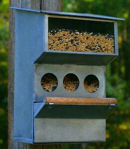 Unique Collectible Rustic Barn Roof Gray Tin & Wood Backyard Buddies Bird Feeder