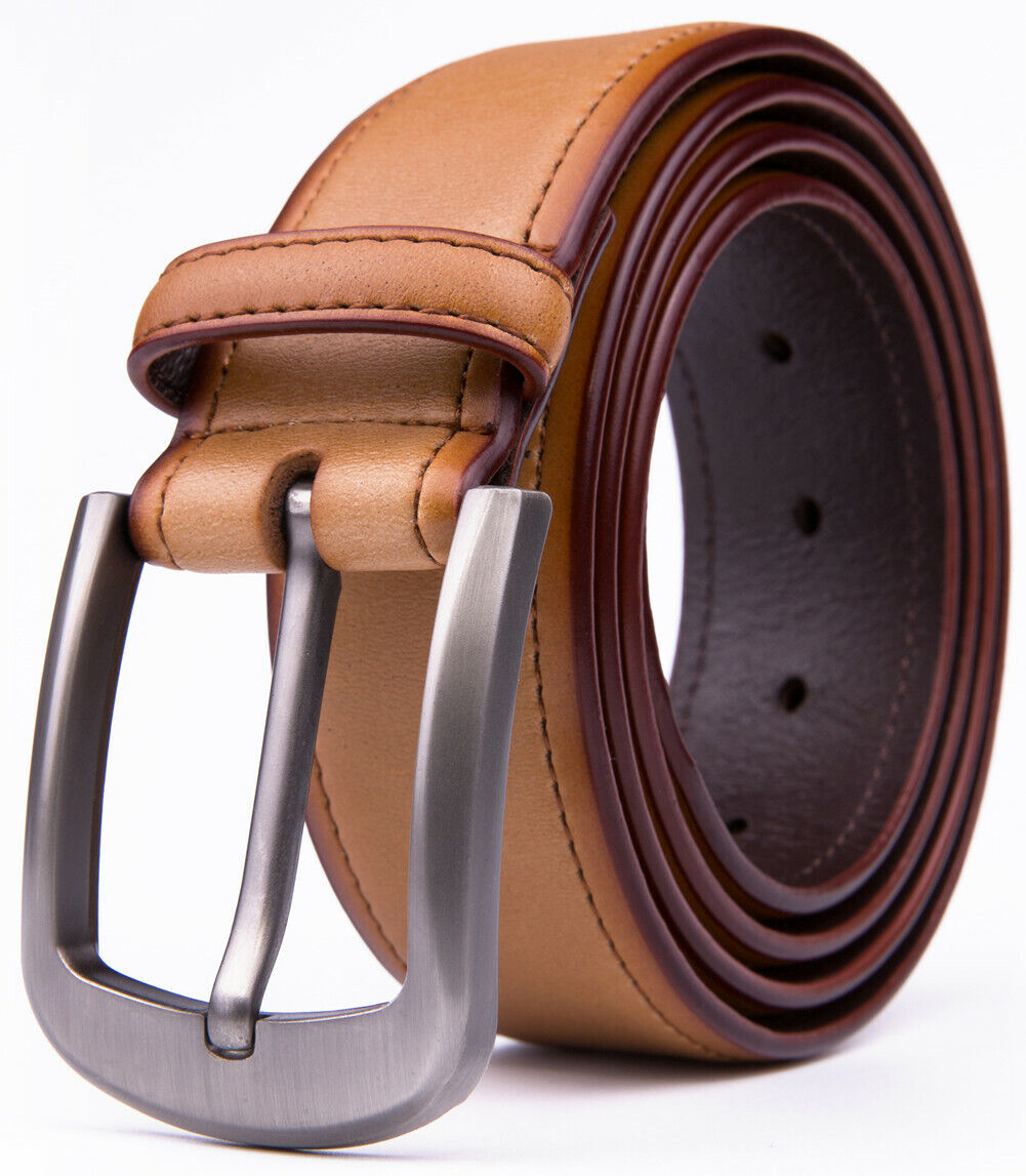 Men's Genuine Leather Belt With Classic Silver Buckle 1.5inch Width Belts