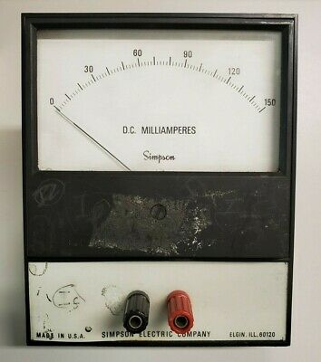 Dc Milliamperes Simpson Electric Company Analog Volt Meter Panel Meter 0-150 Dc