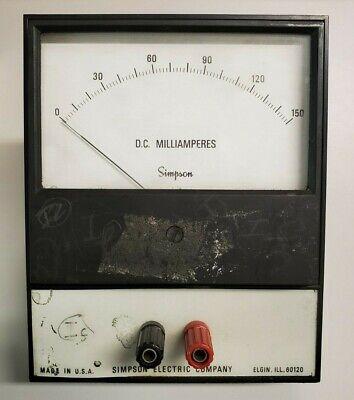 Dc Milliamperes Simpson Electric Company Analog Volt Meter Panel Meter 0-150 Dc