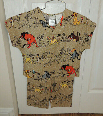 Kids Size Scrubs (New Disney Lion King Scrub Top Shirt and Pants, Size Child Youth S Small,)