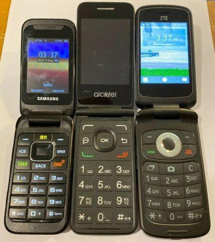 Flip Phones Lot of 3 Cell Phones - Samsung / Alcatel / ZTE - (Phones Only)