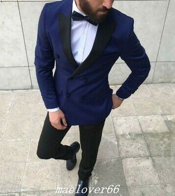 Dark Blue Slim Fit Groom Best Man Tuxedos Double Breasted Blazer Men's (Best Slim Fit Blazers)