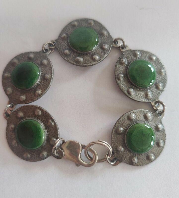 Arts and crafts movement pewter enamel cabachon bracelet