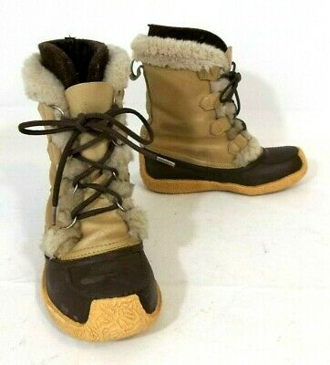SOREL Nanook Brown Tan Leather Insulated Inserts Winter Snow Boots Women's Sz -