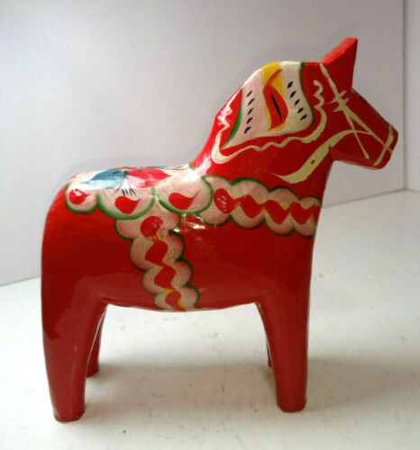 Vintage Akta Dala Hemslojd Painted Swedish Dala Horse Folk Art Figure