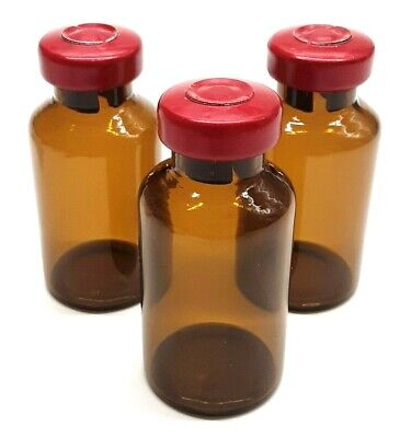 20ml Amber Glass Sterile Vials - 10 Pack - Free Shipping