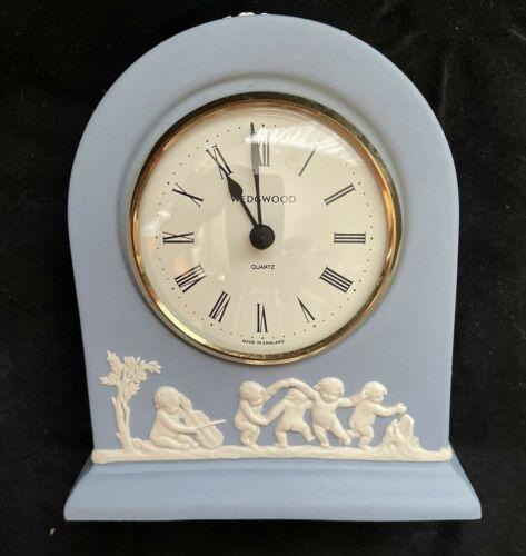 "Wedgwood Dark Blue Jasperware Clock 5"" x 5"" Desk Dome Bedside England Quartz"