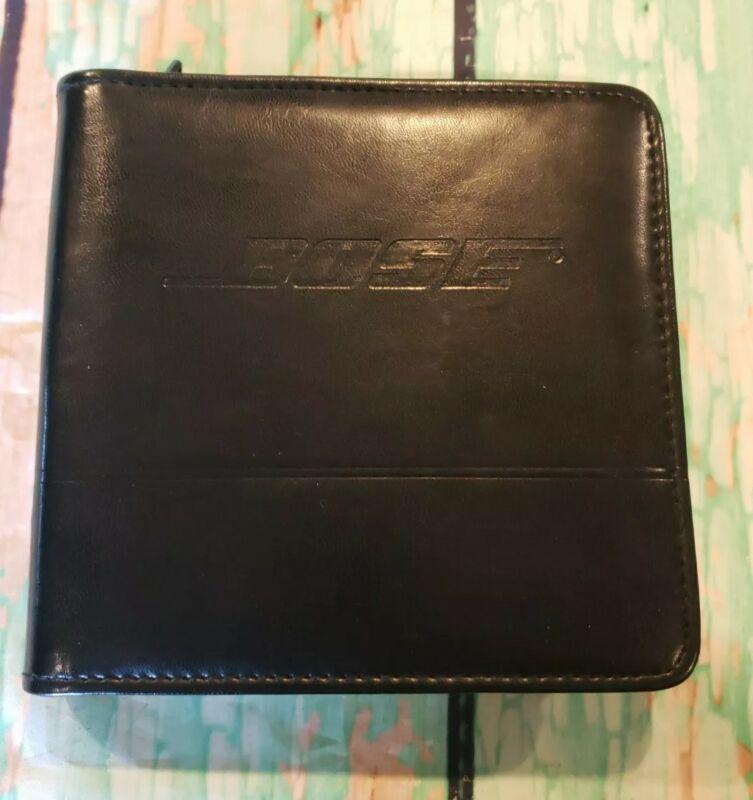Genuine BOSE Zippered CD Black Leather Storage Travel Case Holds 24 Discs- VGC