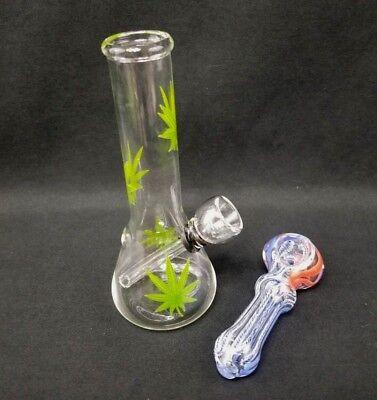 """Hookah Water Pipe Bong Glass 6"""" inch Multi Green Leaf Clear Bubbler 4"""" Sidekick"""