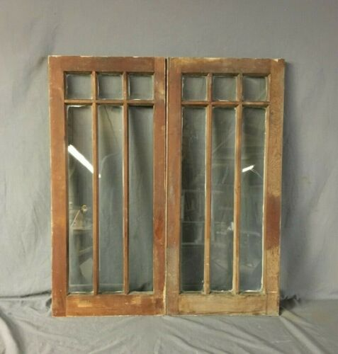 Pair Antique Arts Crafts Casement Window Cabinet Cupboard  16X36 Vtg 127-19B