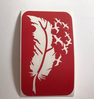 Feather With Birds Glitter Tattoo Stencil](Tattoos With Birds)