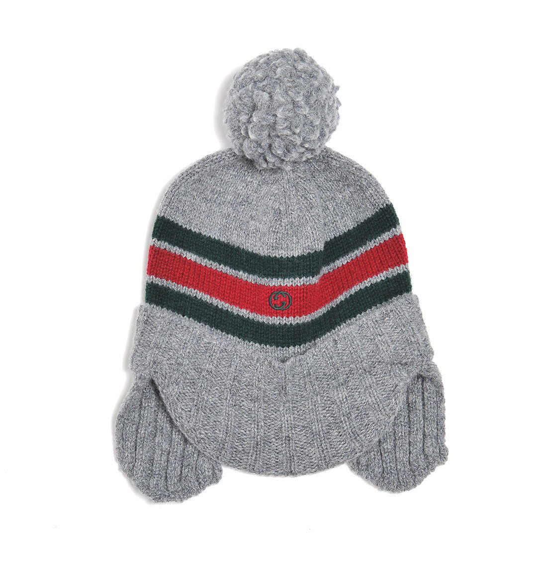 1f0dca296589c ... NWT NEW Gucci kids boys navy or gray wool knit hat ear flaps red web S  ...