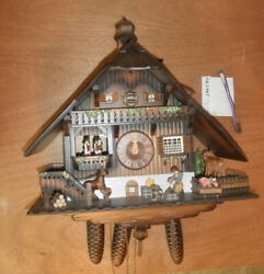 German made WATCH VIDEO beautiful Musical Chalet NSO 8 Day Cuckoo Clock CK2445