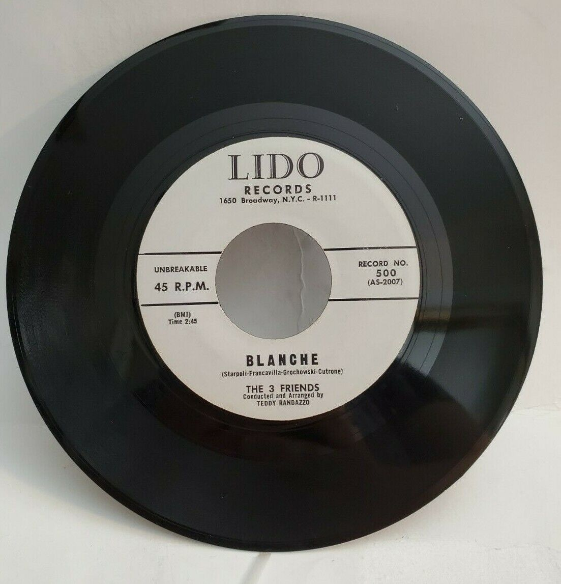 The 3 Friends BLANCHE GREAT DOO WOP 45 LIDO 500 PLAYS VG TO VG  - $29.99