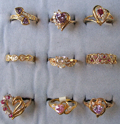 Wholesale Lot 9 pcs of  Heart Cubic Zirconia 14k Gold Plated Ring