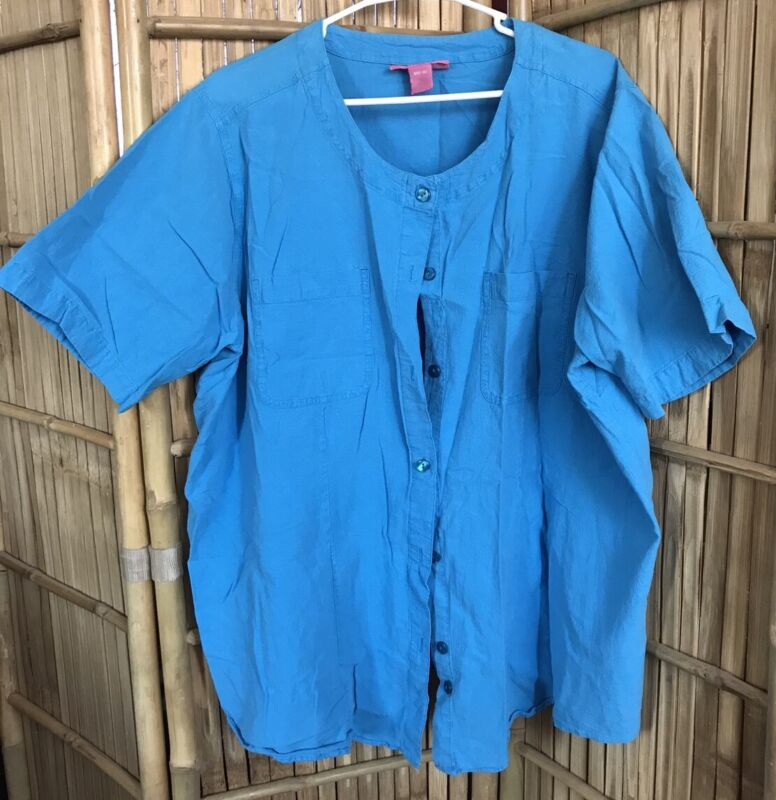 Woman Within Woman's Plus Size Button Down Blue Blouse 2X  F