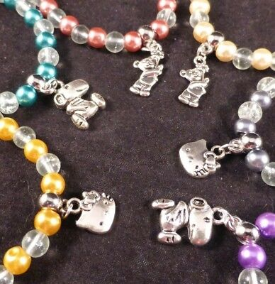 Girls Cute Silver Plated Ted, Kitty or Snoopy Elasticated Charm Bracelet & Bag  ()