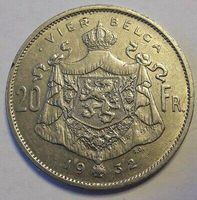 4 belga - 20 frank 1932 vlaams pos.B * Z.Fraai * ALBERT I * Belgïe Belgique Belg