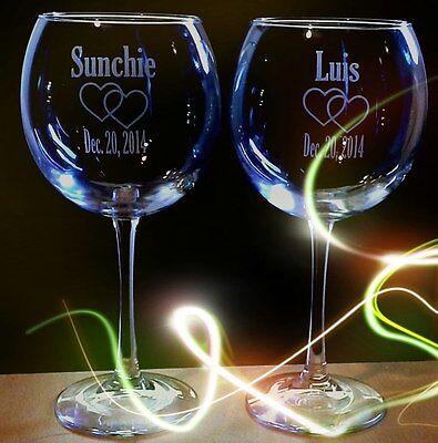 Custom Wine Glasses (2 Custom Engraved Red Wine Glasses for Wedding, Anniversary, Birthday)