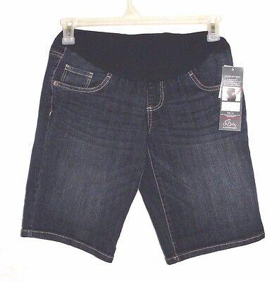 Women's Oh Baby Maternity Dark Wash Denim Bermuda Shorts - Size M (8-10) - NWT