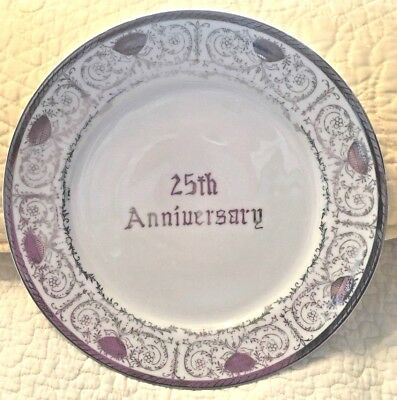 NWT Vintage 25th Anniversary Wedding Gift Plate White with Silver Trim