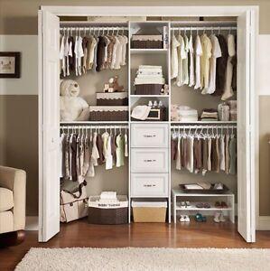 Home Closet Organizer Wardrobe Clothe Cabinet Hanger Shelf Wood Storage  Rack Kit