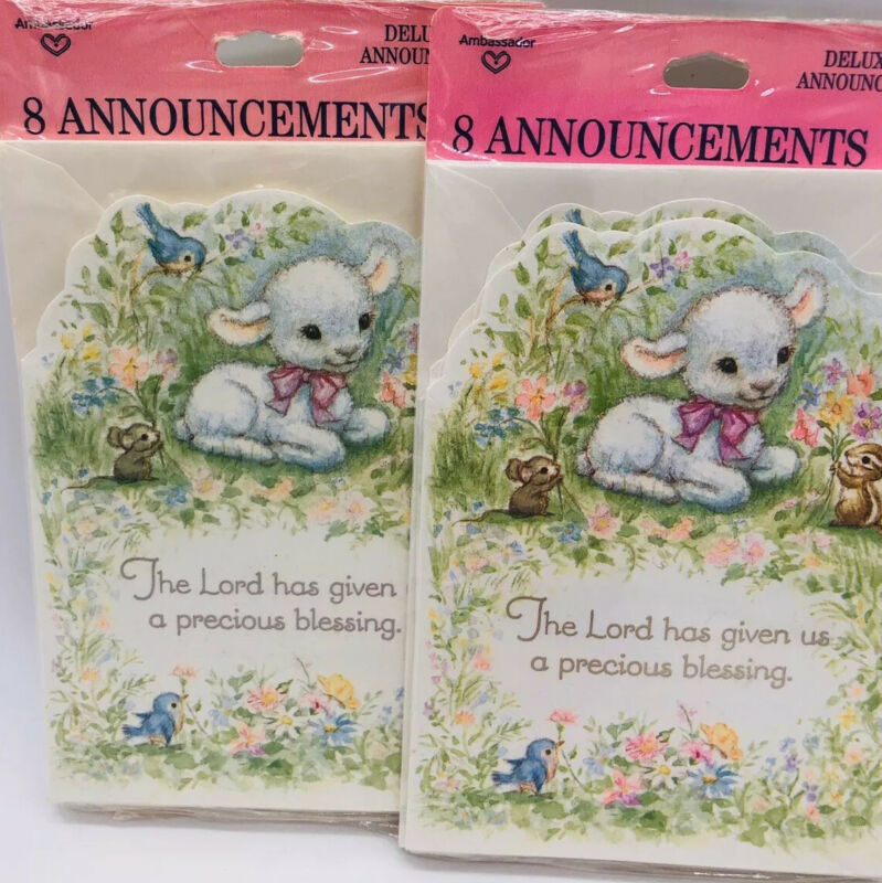 Hallmark Birth Announcements 2 Packages of 8 Lamb  Baby Animals Religious New