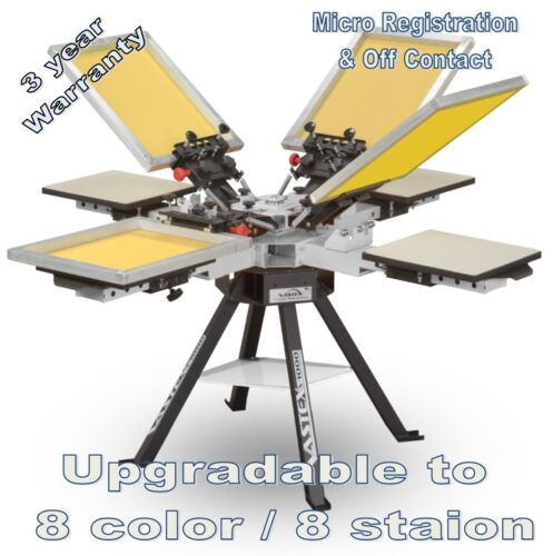 Vastex V-1000 Professional Screen Printing Manual Press 4 Station and 4 Color