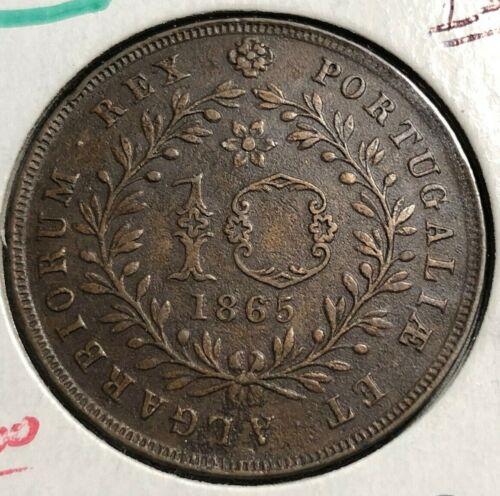 """!!EXCELLENT!! Azores Islands 10 Reis 1865 SCARCE Portuguese coin! Looks """"UNC"""""""
