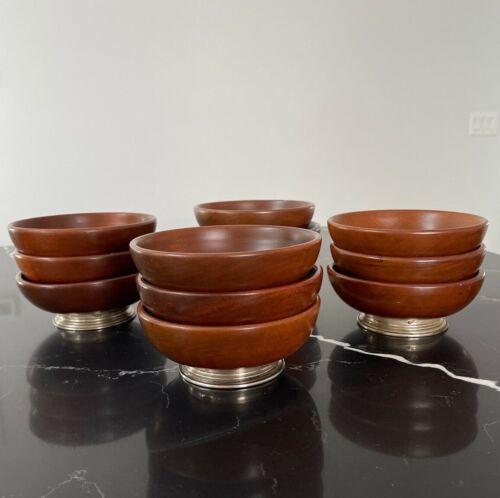 Set of 12 Mid Century Modern Wood Brown Bowl Salad Plate STERLING Silver Base