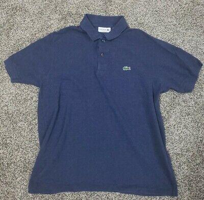 LACOSTE Mens Polo Shirt Size 5 Large Navy Blue Cotton Classic Fit
