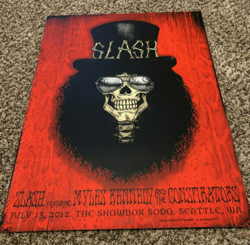 Slash w/ Myles Kennedy S/N Silkscreen Print Poster Seattle 7/13/12 Guns N Roses