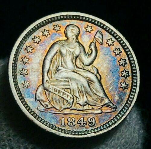 1849 Seated Liberty Half Dime 5C High Grade XF AU Toned US Silver Coin CC2287