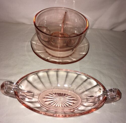 vintage pink depression glass oval handled 6