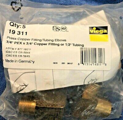 Viega Street 90 Elbow 34 Pex X 34 Copper Or 12 Tubing19311 5 Piece Bag
